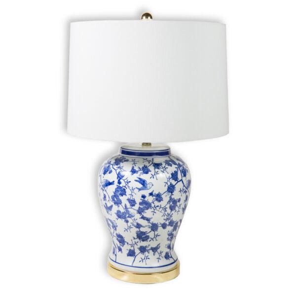 Lámpara cerámica azul con dorado